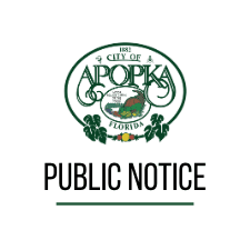City of Apopka Logo with Public Notice with accent line below