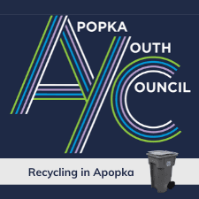 Apopka Youth Council Logo with Apopka recycling cart. Recycling in Apopka.