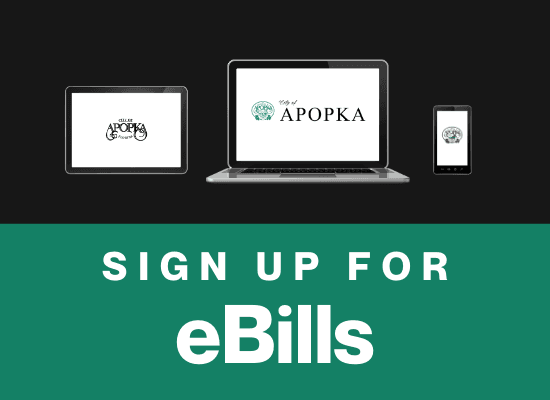Sign up for eBills. Computer, tablet, and phone with City of Apopka logos on the screens.