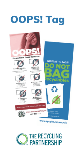 Oops! Tags FinalWarning. The Recycling Partnership Logo. Front & back of the tag with list of items.