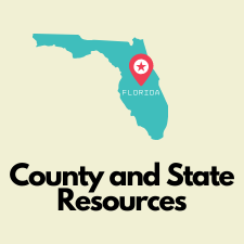 State of Florida with marker point. County and State Resources