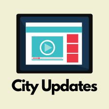 City Updates with computer screen with website and video button