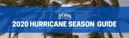 Apopka 2020 Hurricane Season Guide Button with winds blowing palm trees in storm. Apopka Logo