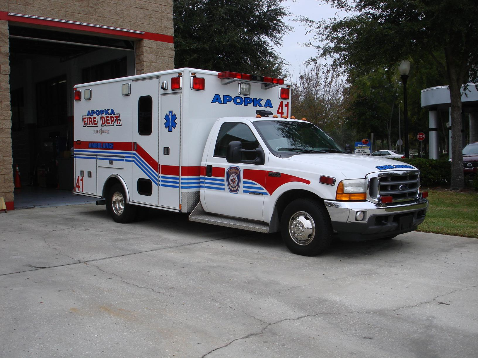 Apopka ambulance in front of the fire station.