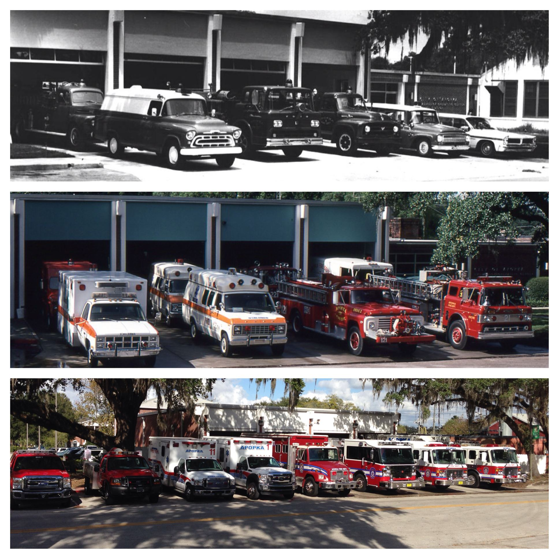 Collage of different fire trucks through the ages.